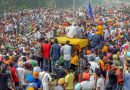 Farmers at the Jandiala Guru railway station in Punjab's Amritsar on Tuesday continued with their rail blockade